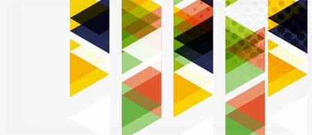 Banner with multicolored mosaic triangle geometric design on white background. Abstract texture. Vector illustration design template. Geometric art pattern background. Stock Illustratie