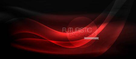 Neon light abstract waves Ilustrace