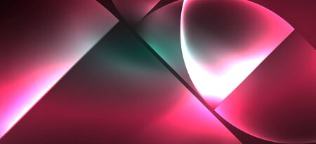 Techno glowing glass geometric shapes vector background, futuristic dark template with neon light effects and simple forms