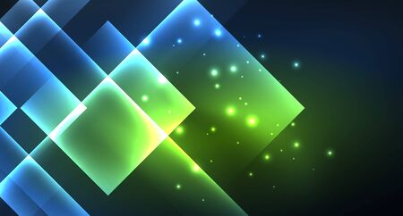 Neon glowing techno square rectangle lines, blue hi-tech futuristic abstract background template with squares shapes