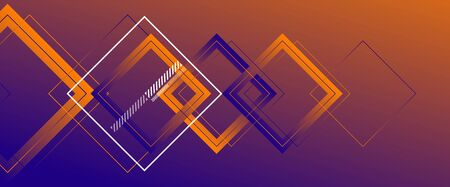 Abstract background with simple square or rectangle geometrical shapes. Geometric template with fluid gradients. Line design, technology concept. Vector Illustration For Wallpaper, Banner Background