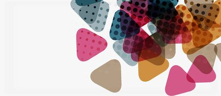 Banner with multicolored mosaic triangle geometric design on white background. Abstract texture. Vector illustration design template.