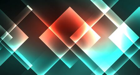 Neon geometric abstract background in hipster style on light background. Space retro design. Color geometric pattern. Square shape abstract background. Modern geometric texture.
