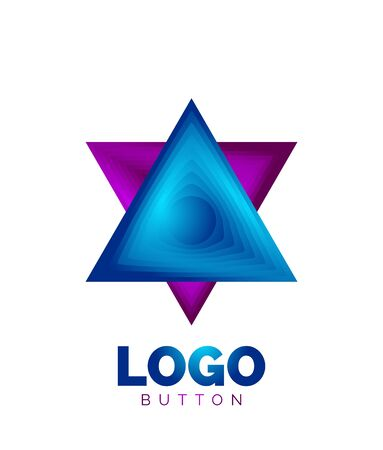 Triangle icon geometric   template. Minimal geometrical design, 3d geometric bold symbol in relief style with color blend steps effect. Vector Illustration For Button, Banner, Background