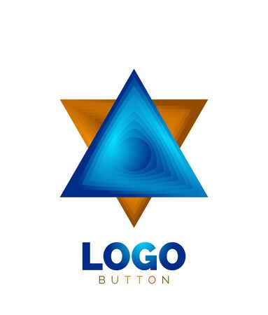 Triangle icon geometric template. Minimal geometrical design, 3d geometric bold symbol in relief style with color blend steps effect. Vector Illustration For Button, Banner, Background Stock fotó - 135501902