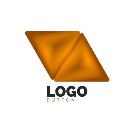 Triangle icon geometric template. Minimal geometrical design, 3d geometric bold symbol in relief style with color blend steps effect. Vector Illustration For Button, Banner, Background Stok Fotoğraf - 135501974