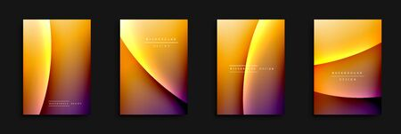 Wave covers set with fluid gradients. Dynamic trendy abstract background with flowing wavy lines. Vector Illustration For Wallpaper, Banner, Background, Card, Book Illustration, landing page, cover, placards, poster, banner, flyer design