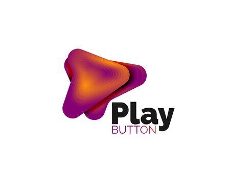 Modèle de flèche. Ou jouer ou télécharger un modèle de bouton. Conception géométrique minimale, symbole audacieux géométrique 3d dans un style en relief avec effet d'étapes de mélange de couleurs. Illustration vectorielle Vecteurs