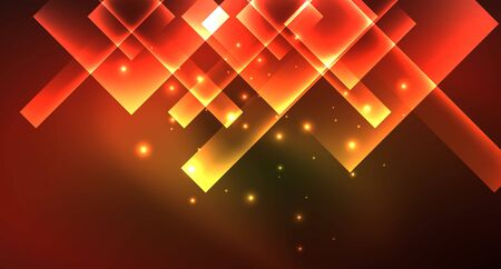 Shiny neon design square shape abstract background. Retro vector abstract design banner template Vektorgrafik