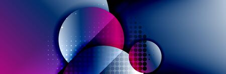 Dynamic trendy geometrical abstract background. Circles, round shapes 3d shadow effects and fluid gradients. Modern overlapping round forms. Vector Illustration For Wallpaper, Banner, Background, Card, Book, Illustration, landing page, cover, placard, poster, banner, flyer, design