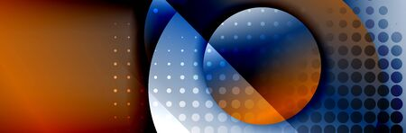 Dynamic trendy geometrical abstract background. Circles, round shapes 3d shadow effects and fluid gradients. Modern overlapping round forms