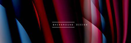 Ð¡olorful flow poster. Wave liquid lines and shapes in black color background. Vector Illustration Reklamní fotografie - 138196952