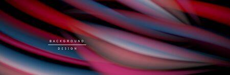 Сolorful flow poster. Wave liquid lines and shapes in black color background. Vector Illustration Reklamní fotografie - 138196964