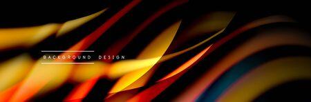 Ð¡olorful flow poster. Wave liquid lines and shapes in black color background. Vector Illustration Reklamní fotografie - 138196966