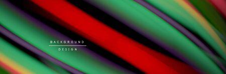 Ð¡olorful flow poster. Wave liquid lines and shapes in black color background. Vector Illustration Reklamní fotografie - 138196979