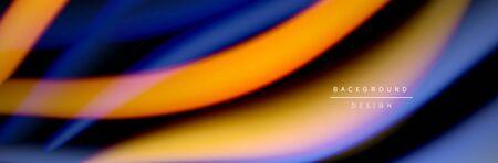 Ð¡olorful flow poster. Wave liquid lines and shapes in black color background. Vector Illustration Reklamní fotografie - 138198183