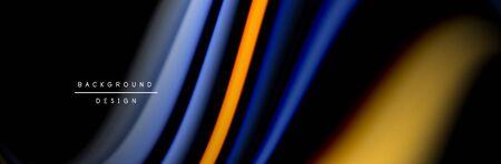 Ð¡olorful flow poster. Wave liquid lines and shapes in black color background. Vector Illustration Reklamní fotografie - 138198184