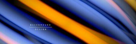 Ð¡olorful flow poster. Wave liquid lines and shapes in black color background. Vector Illustration
