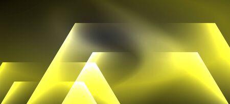 Neon color hexagon shapes, lines on black background. Modern template for web backdrop design. Abstract geometric frame Ilustração