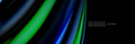 Silk and smooth flow wave poster design. Color waves, liquid style lines and shapes in black color background Ilustração