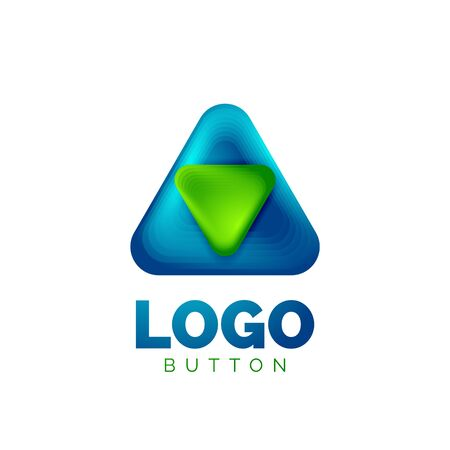 Play, arrow or download button icon, minimal design business logo template. 3d geometric bold in relief style with color blend steps effect. Vector Illustration For Wallpaper, Banner, Background, Card Stock Illustratie