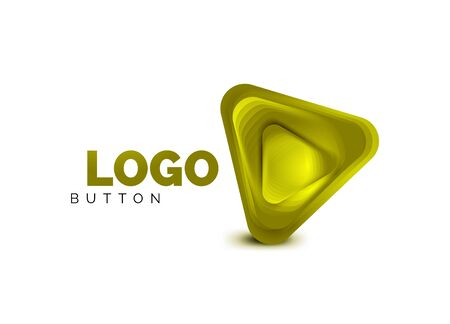 Play, arrow or download button icon, minimal design business template. 3d geometric bold in relief style with color blend steps effect. Vector Illustration For Wallpaper, Banner, Background, Card Banque d'images - 137803978