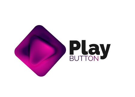 Play, arrow or download button icon, minimal design business template. 3d geometric bold in relief style with color blend steps effect. Vector Illustration For Wallpaper, Banner, Background, Card Banque d'images - 137804022