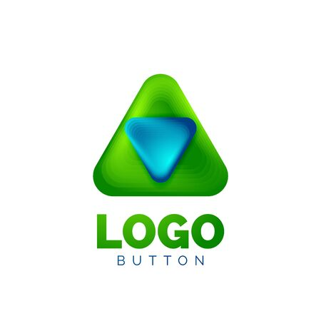 Play, arrow or download button icon, minimal design business template. 3d geometric bold in relief style with color blend steps effect. Vector Illustration For Wallpaper, Banner, Background, Card Archivio Fotografico - 137804038