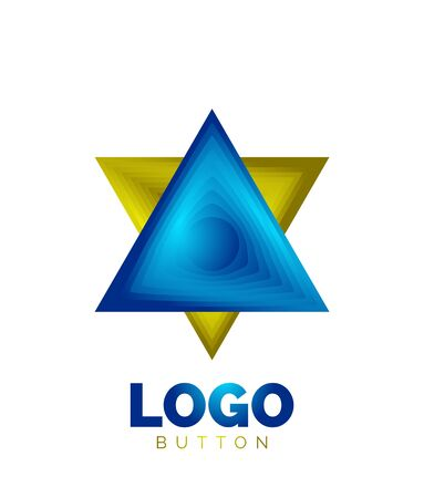 Triangle icon geometric template. Minimal geometrical design, 3d geometric bold symbol in relief style with color blend steps effect. Vector Illustration For Button, Banner, Background Banque d'images - 137804130
