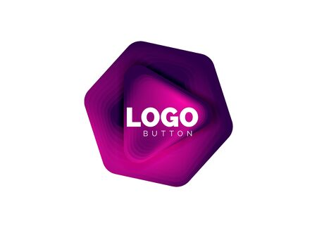 Play, arrow or download button icon, minimal design business template. 3d geometric bold in relief style with color blend steps effect. Vector Illustration For Wallpaper, Banner, Background, Card Archivio Fotografico - 137804144