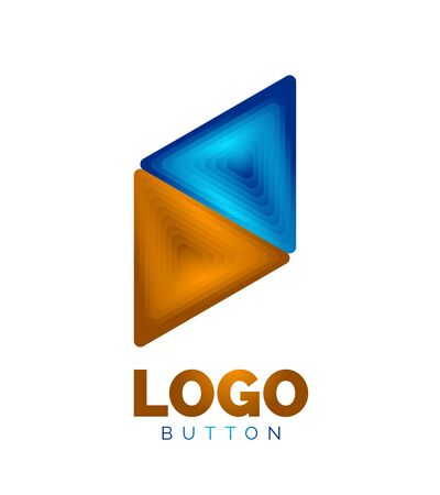 Triangle icon geometric template. Minimal geometrical design, 3d geometric bold symbol in relief style with color blend steps effect. Vector Illustration For Button, Banner, Background Banque d'images - 137804212