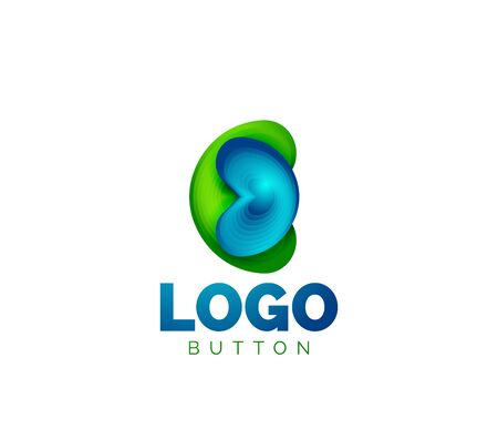 Abstract round shape template. Minimal geometrical design, 3d geometric bold symbol in relief style with color blend steps effect. Vector Illustration Archivio Fotografico - 137804218