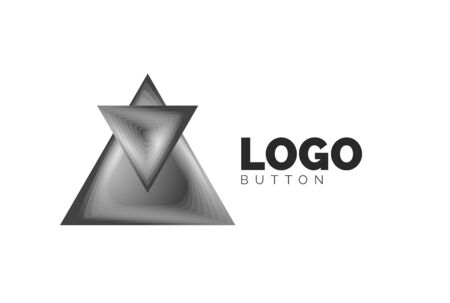 Triangle icon geometric template. Minimal geometrical design, 3d geometric bold symbol in relief style with color blend steps effect. Vector Illustration For Button, Banner, Background Banque d'images - 137804219
