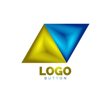 Triangle icon geometric template. Minimal geometrical design, 3d geometric bold symbol in relief style with color blend steps effect. Vector Illustration For Button, Banner, Background Banque d'images - 137804221