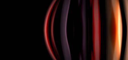 Abstract silk smooth lines on black, multicolored liquid fluid rainbow style waves on black Ilustração