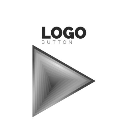 Triangle icon geometric template. Minimal geometrical design, 3d geometric bold symbol in relief style with color blend steps effect. Vector Illustration For Button, Banner, Background Stock fotó - 138429289