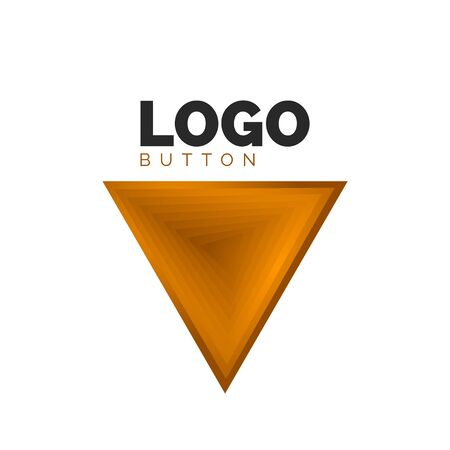 Triangle icon geometric template. Minimal geometrical design, 3d geometric bold symbol in relief style with color blend steps effect. Vector Illustration For Button, Banner, Background Stock fotó - 138429313