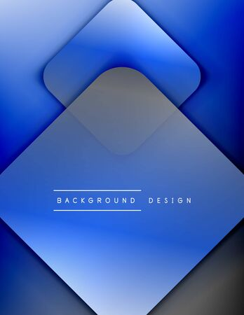 Rounded squares shapes composition geometric abstract background. 3D shadow effects and fluid gradients. Modern overlapping forms.
