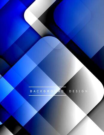 Abgerundete Quadrate bilden geometrischen abstrakten Hintergrund der Zusammensetzung. 3D-Schatteneffekte und flüssige Farbverläufe. Moderne überlappende Formen.