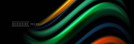 Silk and smooth flow wave poster design. Color waves, liquid style lines and shapes in black color background 向量圖像