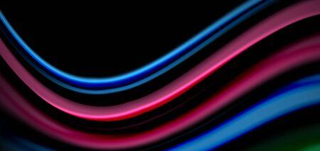 Abstract silk smooth lines on black, multicolored liquid fluid rainbow style waves on black 向量圖像