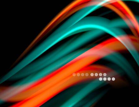 Silk smooth lines on black, liquid fluid color waves. Vector Illustration 向量圖像