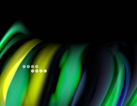 Silk smooth lines on black, liquid fluid color waves. Vector Illustration Ilustrace
