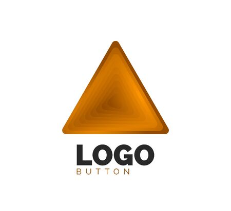Triangle icon geometric template. Minimal geometrical design, 3d geometric bold symbol in relief style with color blend steps effect. Vector Illustration For Button, Banner, Background, landing page Stock Illustratie