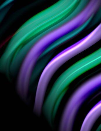 Silk smooth lines on black, liquid fluid color waves. Vector Illustration For Wallpaper, Banner, Background, Card, Book, Illustration, landing page, cover, placard, poster, banner, flyer, design Banco de Imagens - 138239445