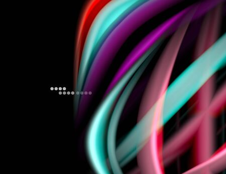 Silk smooth lines on black, liquid fluid color waves. Vector Illustration For Wallpaper, Banner, Background, Card, Book, Illustration, landing page, cover, placard, poster, banner, flyer, design