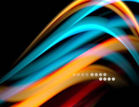 Silk smooth lines on black, liquid fluid color waves. Vector Illustration Banco de Imagens - 138273059
