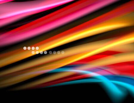 Silk smooth lines on black, liquid fluid color waves. Vector Illustration Banco de Imagens - 138273128