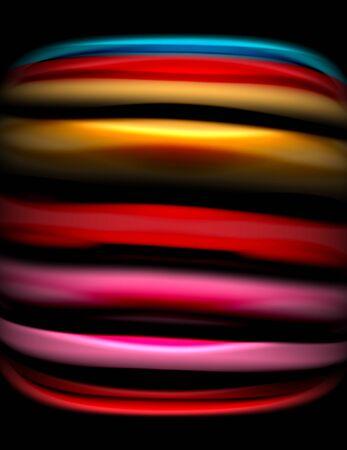 Silk smooth lines on black, liquid fluid color waves. Vector Illustration Banco de Imagens - 138273447