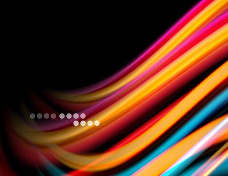 Silk smooth lines on black, liquid fluid color waves. Vector Illustration Banco de Imagens - 138275482